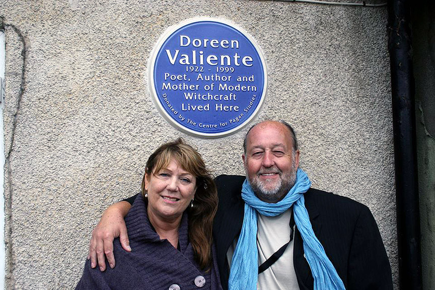 John and Julie Belham-Payne at the unveiling of the blue plaque for Doreen Valiente
